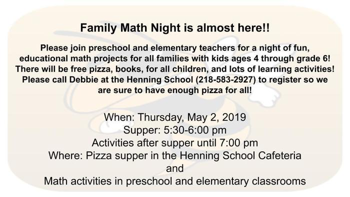 Math title night information