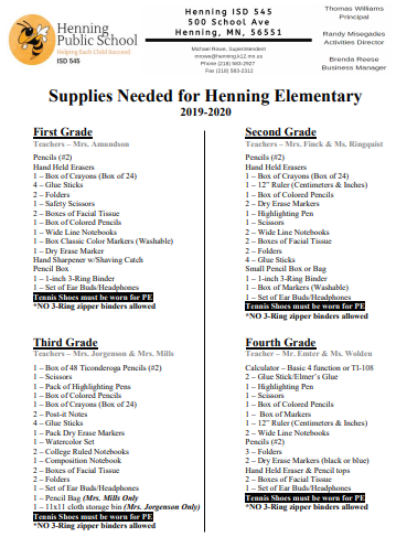 Supply List 1