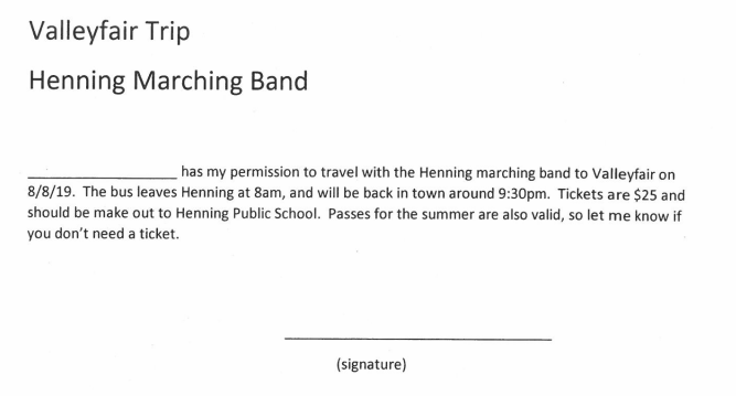 Marching Band Permission Slip